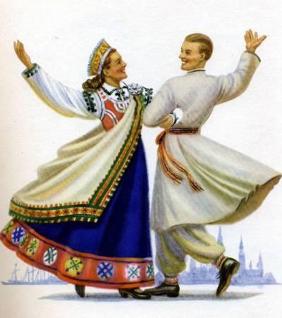 Куклы в народных костюмах №36 Кукла в латышском праздничном костюме